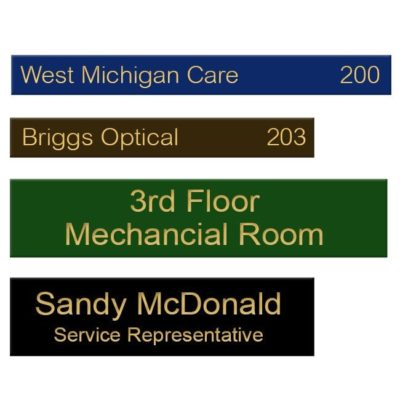 Engraved brass name plates for offices, doors, walls, conference rooms, lobbies and more. Customize online! NapNameplates.com