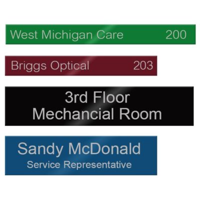 Aluminum office name plates engraved for employee nameplates, lobby signs, conference room doors and more. Customize online! NapNameplates.com