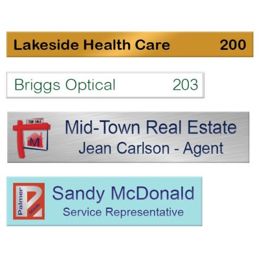 Aluminum metal office name plates printed in vibrant full color. Customize online. NapNameplates.com