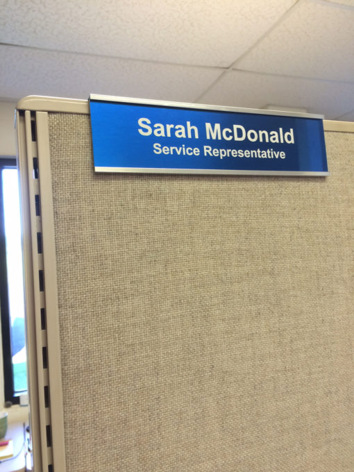 Cubicle Nameplate Holders with Custom Nameplates - Nap-Nameplates.com