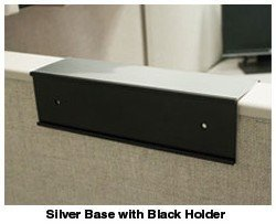 Cubicle nameplate holder in black and silver - Nap-Nameplates.com
