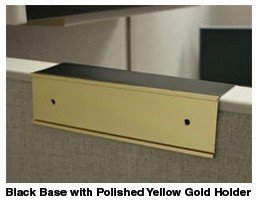 Cubicle nameplate holder in gold and black - Nap-Nameplates.com