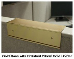 Cubicle nameplate holders in gold - Nap-Nameplates.com