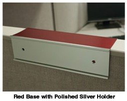 Cubicle nameplate holders in red and silver - Nap-Nameplates.com