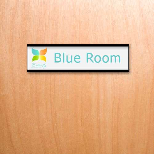 Plastic office name plates with logos and vibrant graphics. Ideal for employees, door signs, lobbies and more. NapNameplates.com