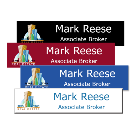 Plastic office name plates printed in vibrant full color with names, logos, graphics and more. 8x2 size is ideal for employee name tags, door signs, lobby signs and more. NapNameplates.com