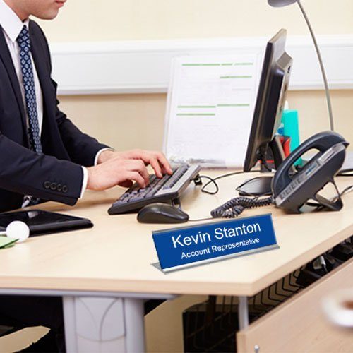 Office name plates for desks, doors, walls and more. Metal and plastic. Engraved and color-printed. Many sizes and options. NapNameplates.com