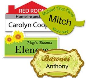 custom shape name badges tags