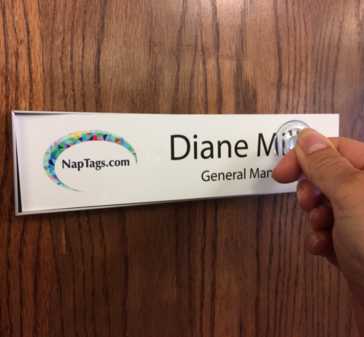 Magnetic name plate holder frame for office doors and walls - NapNameplates.com