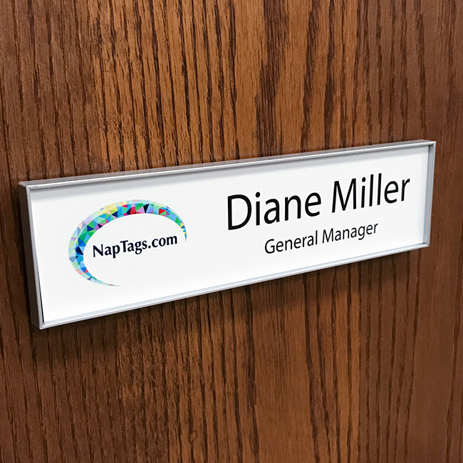 Changeable name plate frame for doors and walls - NapNameplates.com