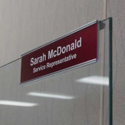 glass cubicle nameplate holder
