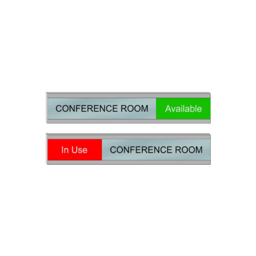 Conference Room Slider Signs for Office Doors or Walls, 6x1 Size, Silver, Red, Green - NapNameplates.com