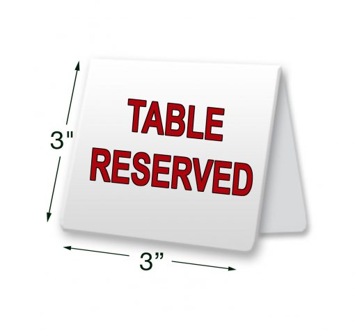 metal table tent signs