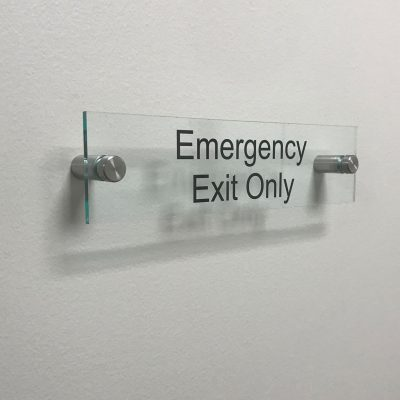 Clear Acrylic Name Plate for Emergency Exit Only - Nap Nameplates
