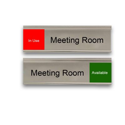 Slider Signs for Meeting Rooms, Silver, Red and Green - Nap Nameplates