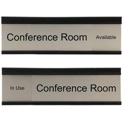 Sliding Conference Room Signs, Brushed Silver Framed in Black