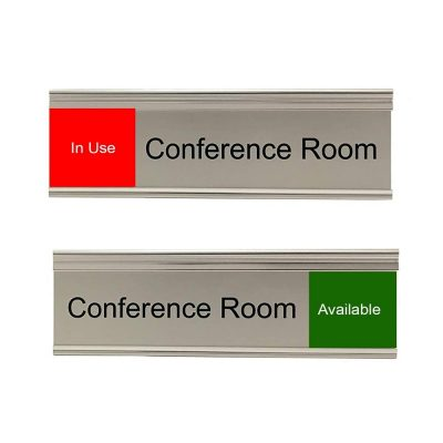 Slider Signs for Conference Rooms, Silver, Red and Green - Nap Nameplates
