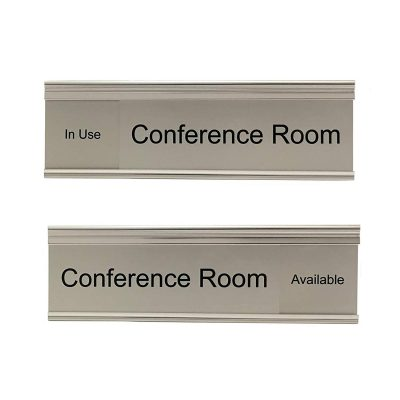 Slider Sign for Conference Rooms in Brushed Silver - Nap Nameplates