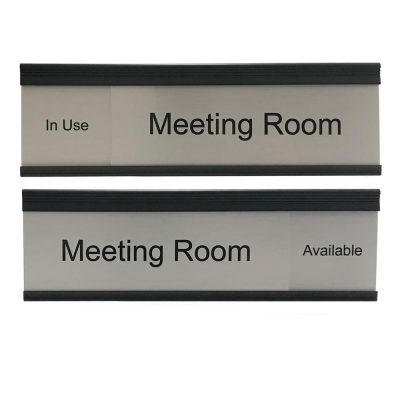 Slider Sign for Meeting Rooms in Brushed Silver Framed in Black - NapNamplates.com