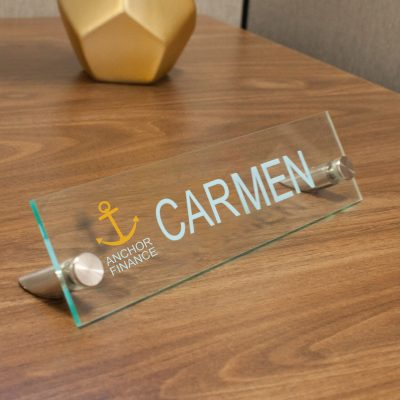 Designer Rectangle Acrylic Desktop Signs for Offices - Nap Nameplates
