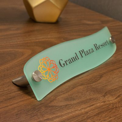 Designer Wave Style Frosted Acrylic Desktop Signs for Offices - Nap Nameplates