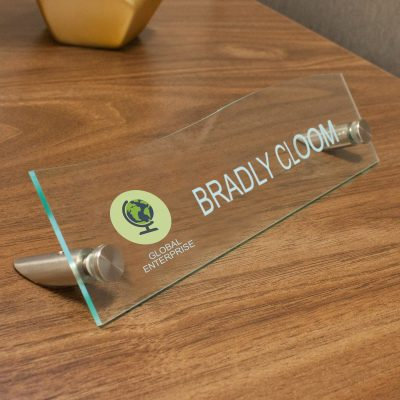 Unique Top Wave Style Acrylic Desktop Signs for Offices - Nap Nameplates