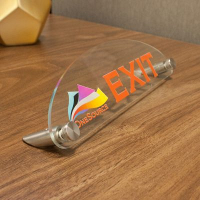 Top Oval Designer Acrylic Desktop Signs for Offices Printed in Full-Color - Nap Nameplates