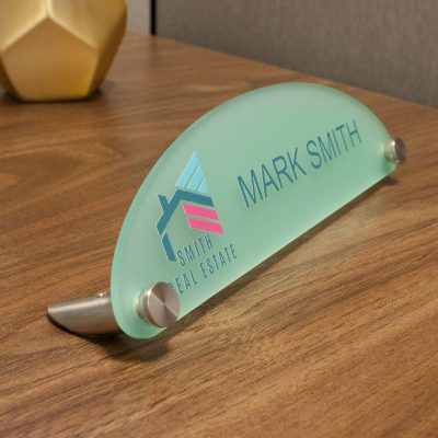 Designer Half Oval Frosted Acrylic Desktop Signs for Offices - Nap Nameplates