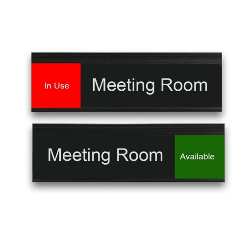 In Use Slider Sign for Meeting Rooms in Black, Red, and Green - Nap Nameplates