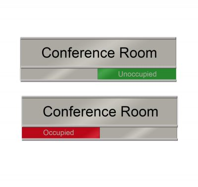 """Occupied"" Slider Signs for Conference Rooms, Silver, Red and Green - Nap Nameplates"