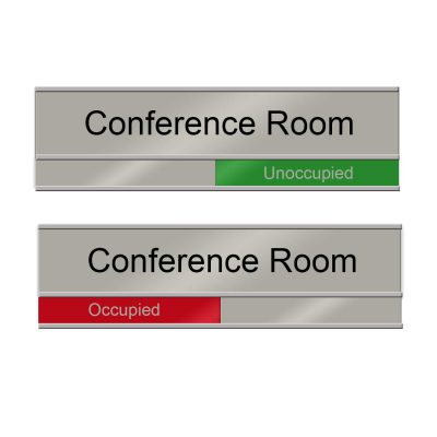 """""""Occupied"""" Slider Signs for Conference Rooms, Silver, Red and Green - Nap Nameplates"""