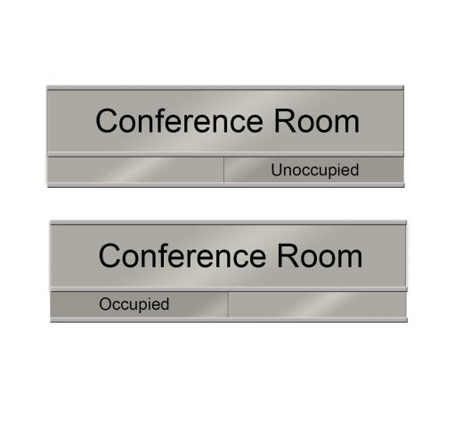 Occupied Slider Sign for Conference Rooms in Brushed Silver - Nap Nameplates