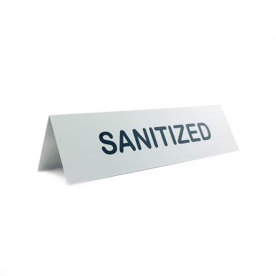 sanitized table tent sign
