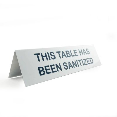 sanitized sign for table